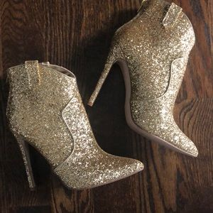 Gold sparkly booties